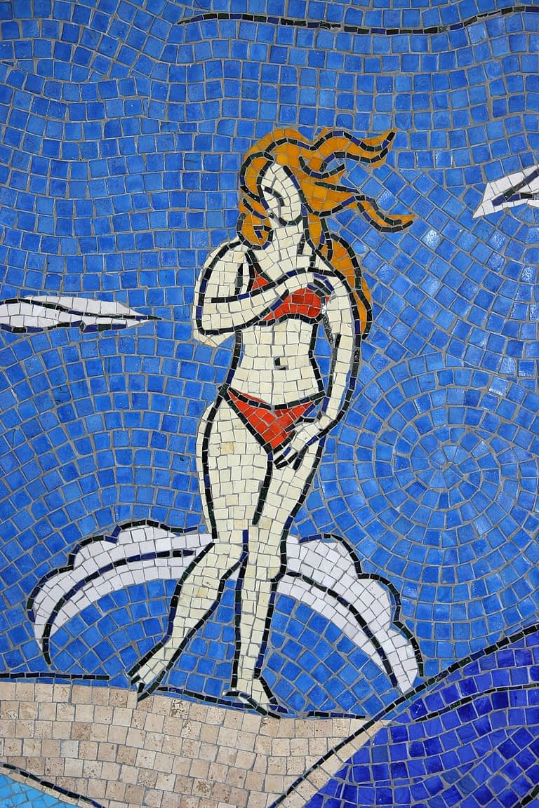 San Diego Airport Mosaic Mural Section of Installation at San Diego International Airport Ode to Venus