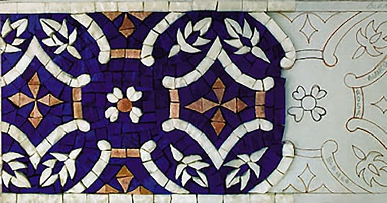 Example of Mosaiclegs Border Design Hand Cut Mosaic