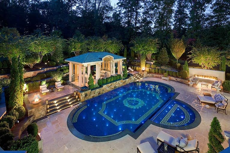 Pool with Greek Key Border and Roman Pool Design