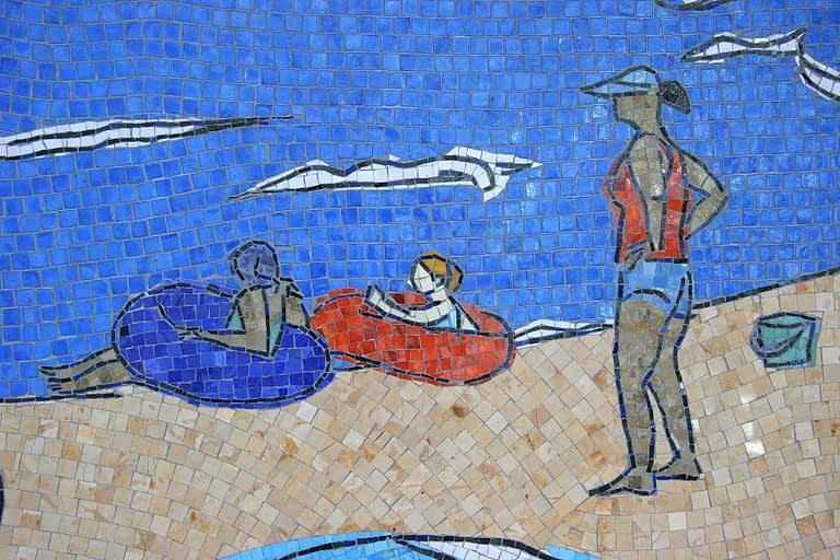 San Diego Airport Mosaic Mural laid Details of Kids in Inner Tubes