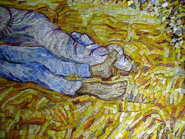 details of mosaic feet on van gogh mosaic mural