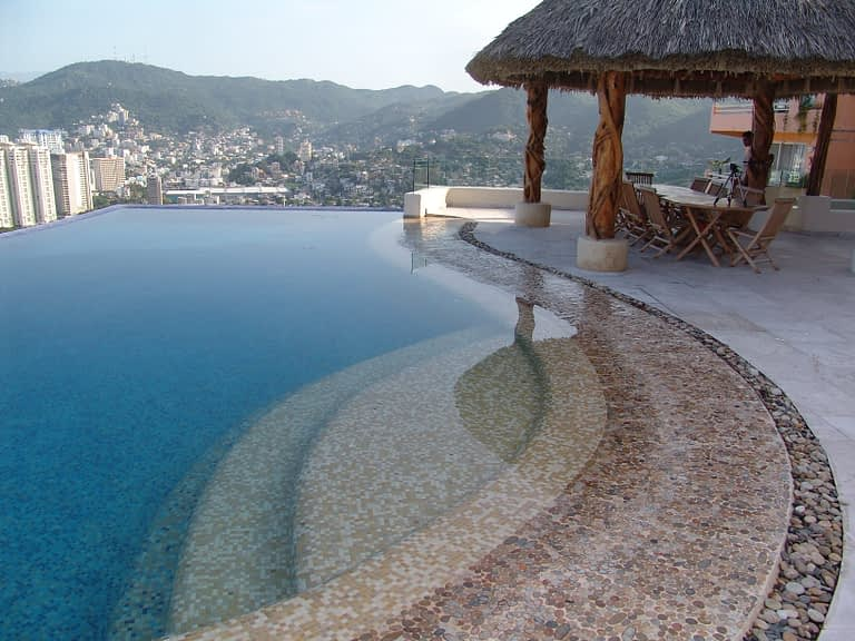 Mosaic Pool in Acapulco overseeing the Bay