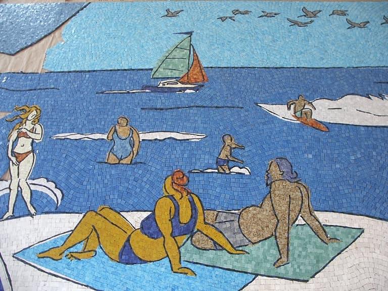 San Diego Airport Mosaic Mural progress of man and women on beach