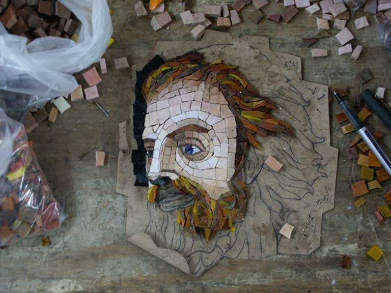 Mosaic of Viking face in Smalti Glass