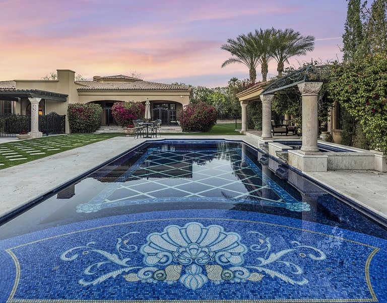 Luxury Pool with Custom Shell Pattern on Baja Shelf