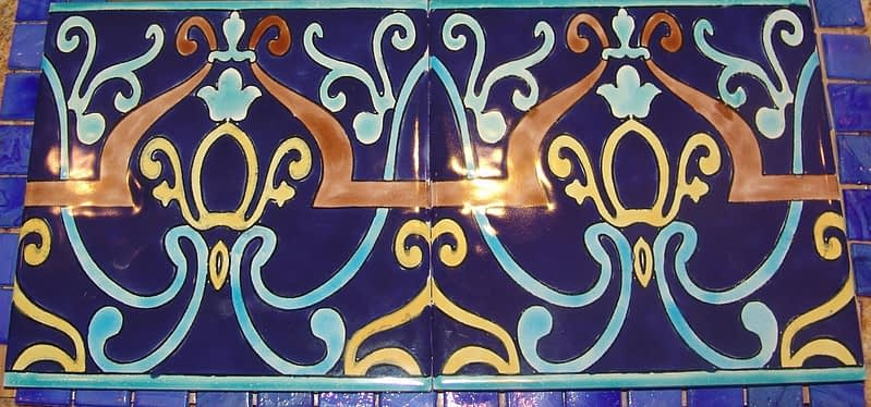 Bissin Hand painted tile for blue tile pool