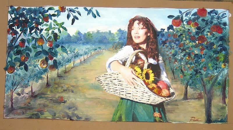 Kitchen backsplash mosaic of women walking through a Orchard Drawing
