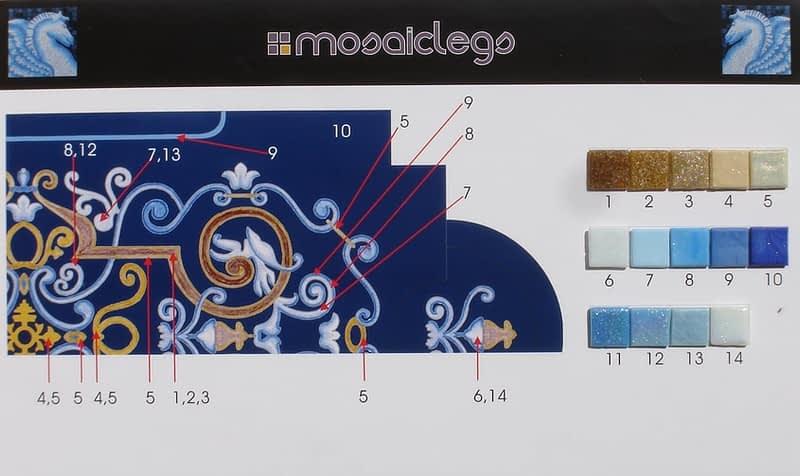 Bissin Mosaic Sample board for Blue tile pool