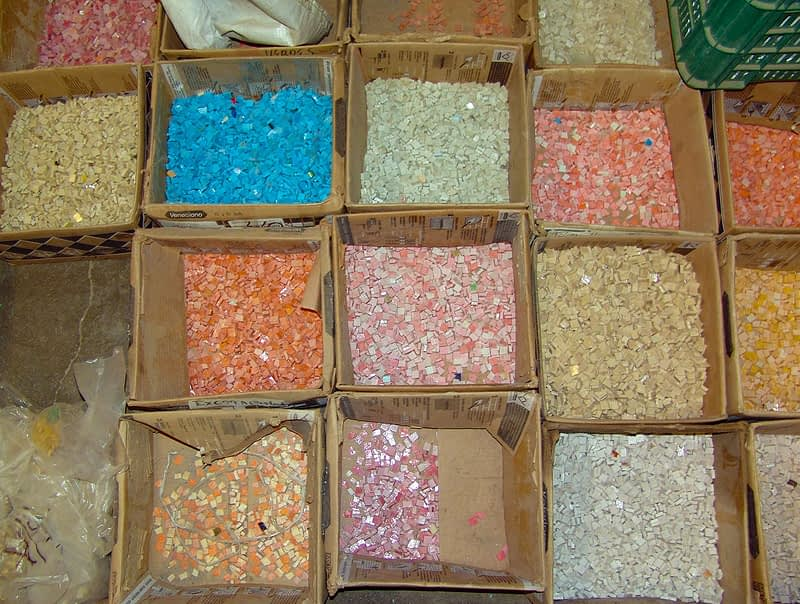 Mosaic Smalti in Boxes ready to Bag and put away.